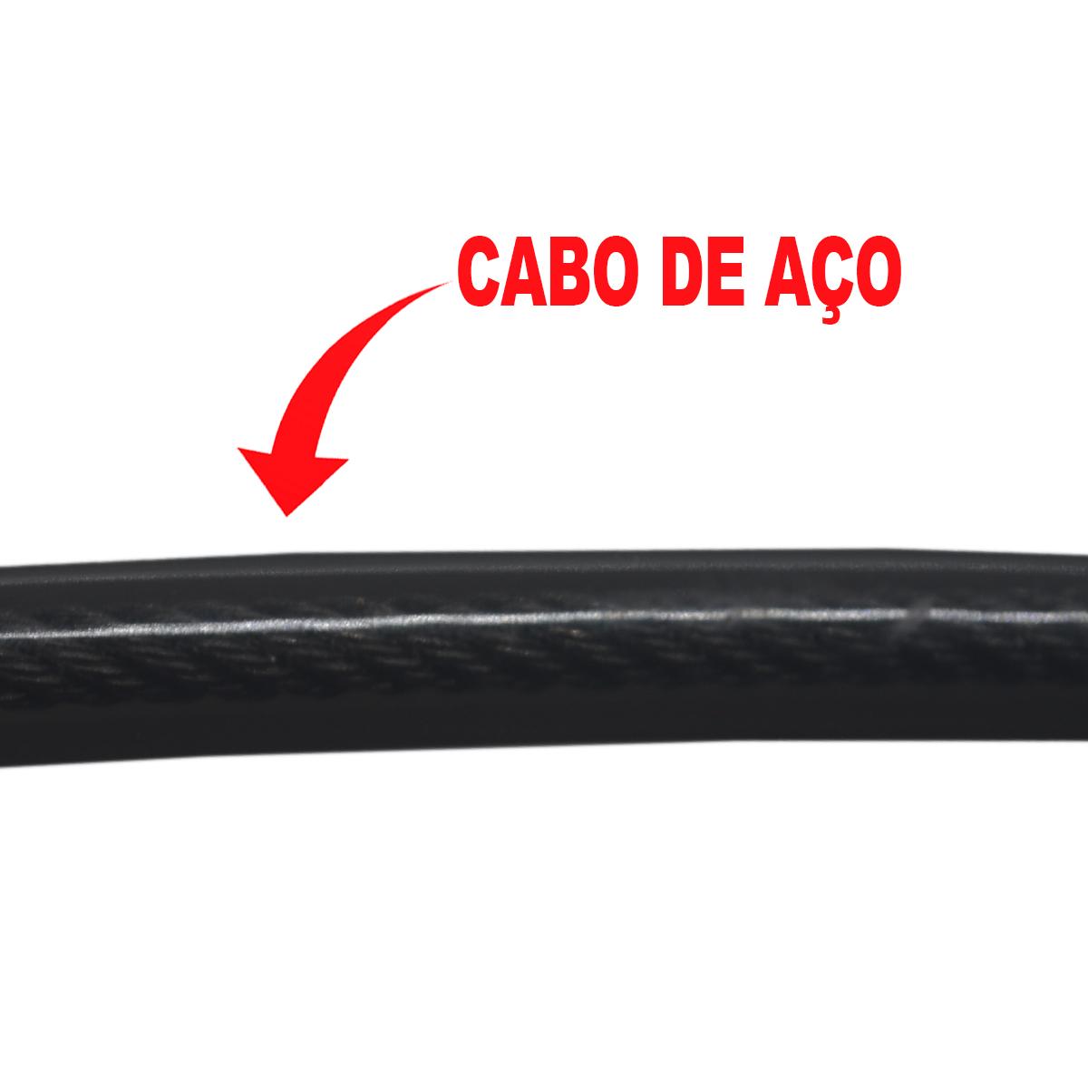 Cadeado Cabo Aço 1,2mx12mm Concept Basic Chave Preto
