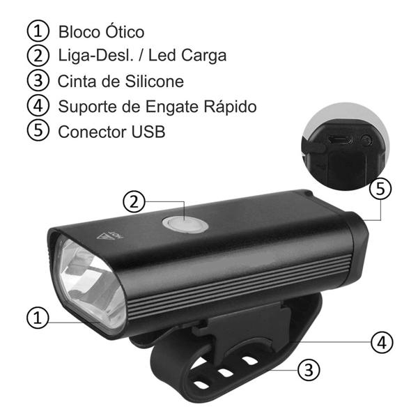 Farol Bike Lanterna 400 Lumens Usb Recarregavel Preto