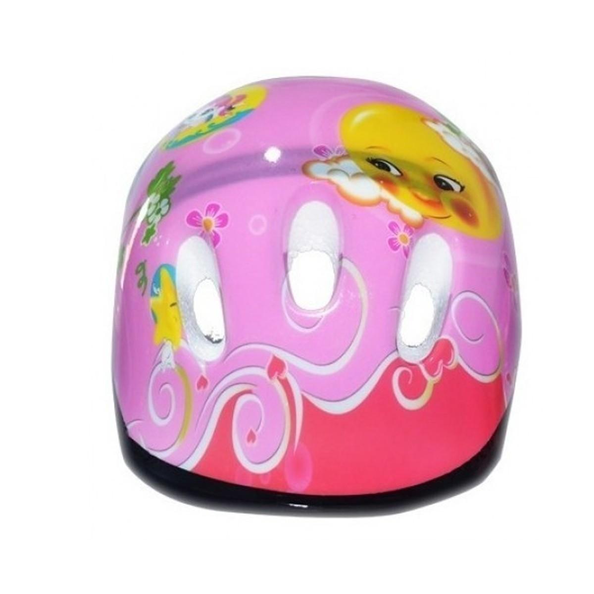 Kit Capacete Cotoveleira Joelheira Infantil Bike Skate Rosa