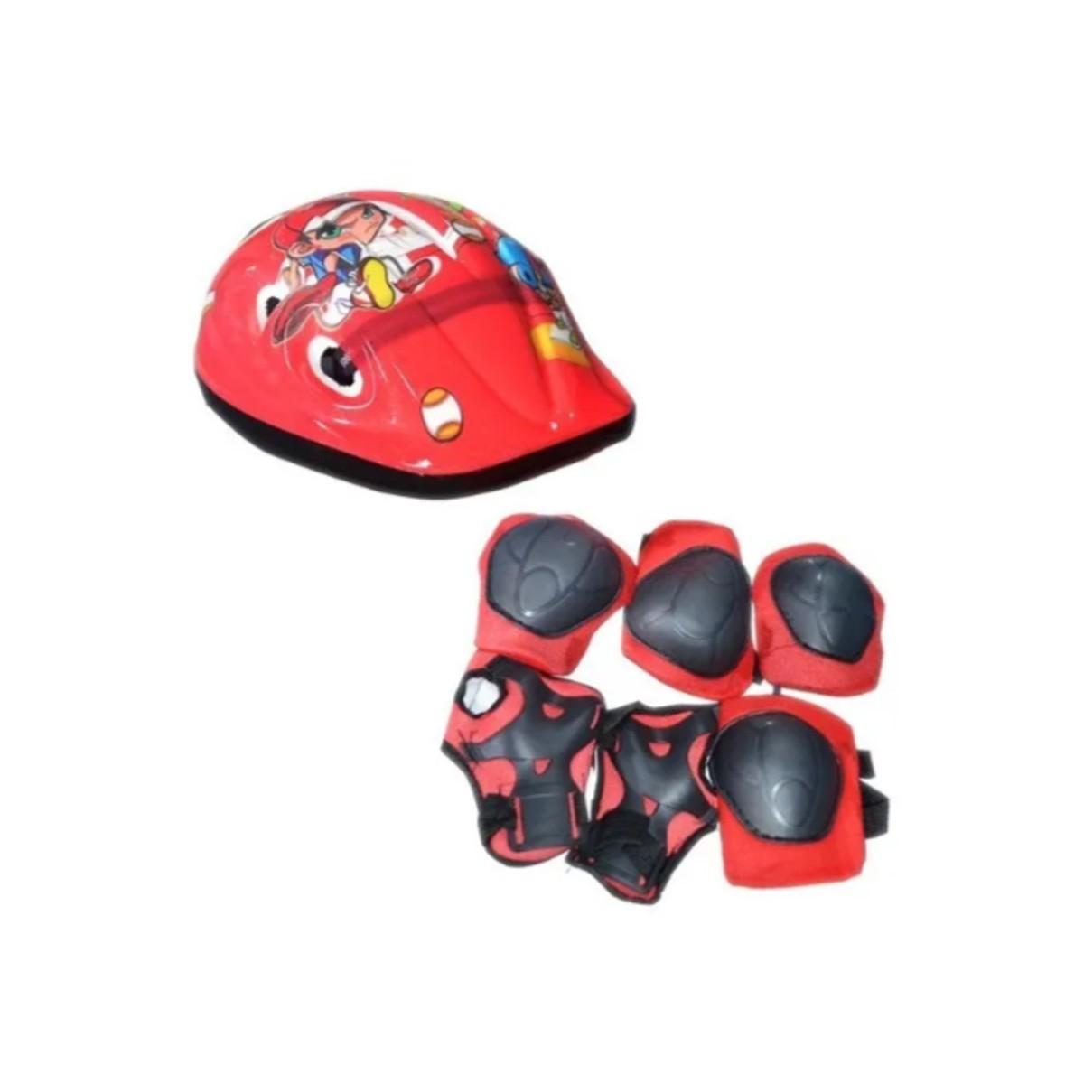 Kit Capacete Cotoveleira Joelheira Infantil Bike Skate Vermelho