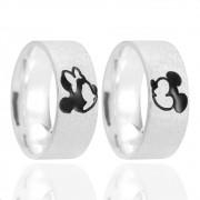 Aliança de Namoro Mickey e Minnie Prata Fosco Acetinado 8mm