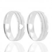 Alianças Namoro Coração Vazado Prata Fosco Diamantado 6mm