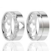 Alianças Namoro Coração Vazado Prata Polido 8 mm