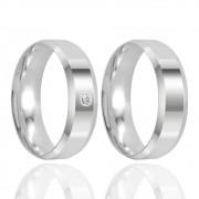 Alianças Namoro Prata Polido 6 mm
