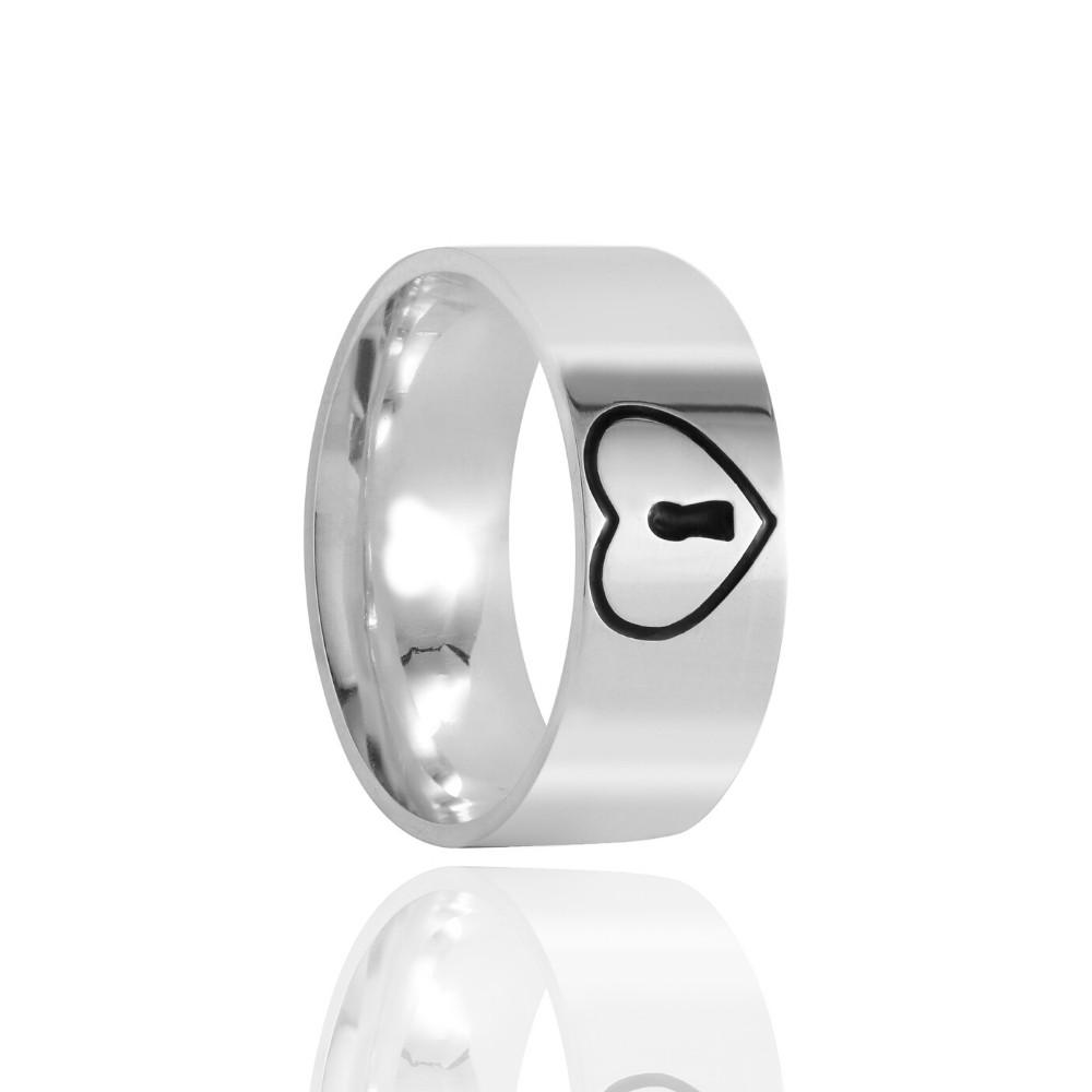 Aliança de Namoro Coração e Chave  Prata Polido 8mm