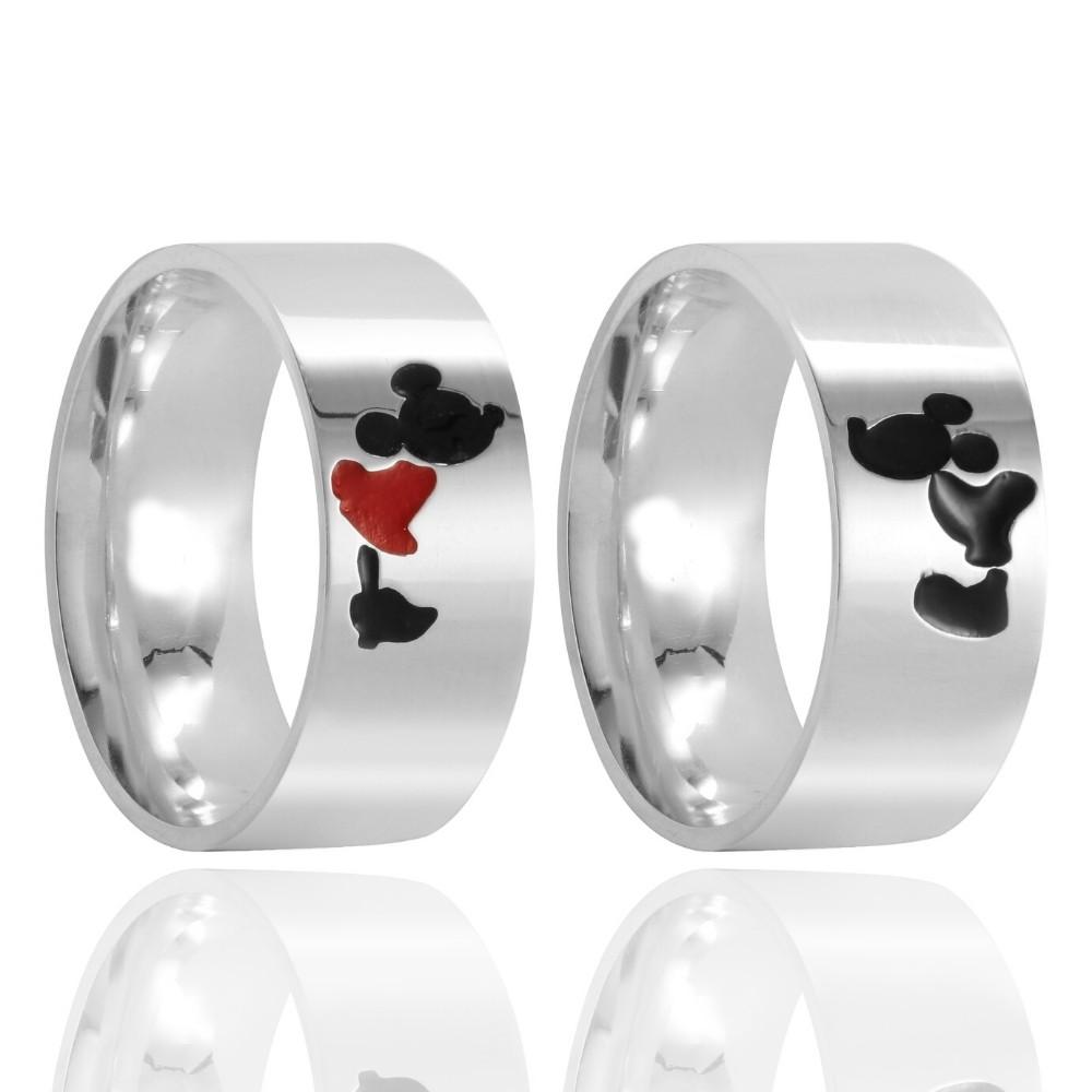 Aliança de Namoro Mickey e Minnie Prata Polido 8mm