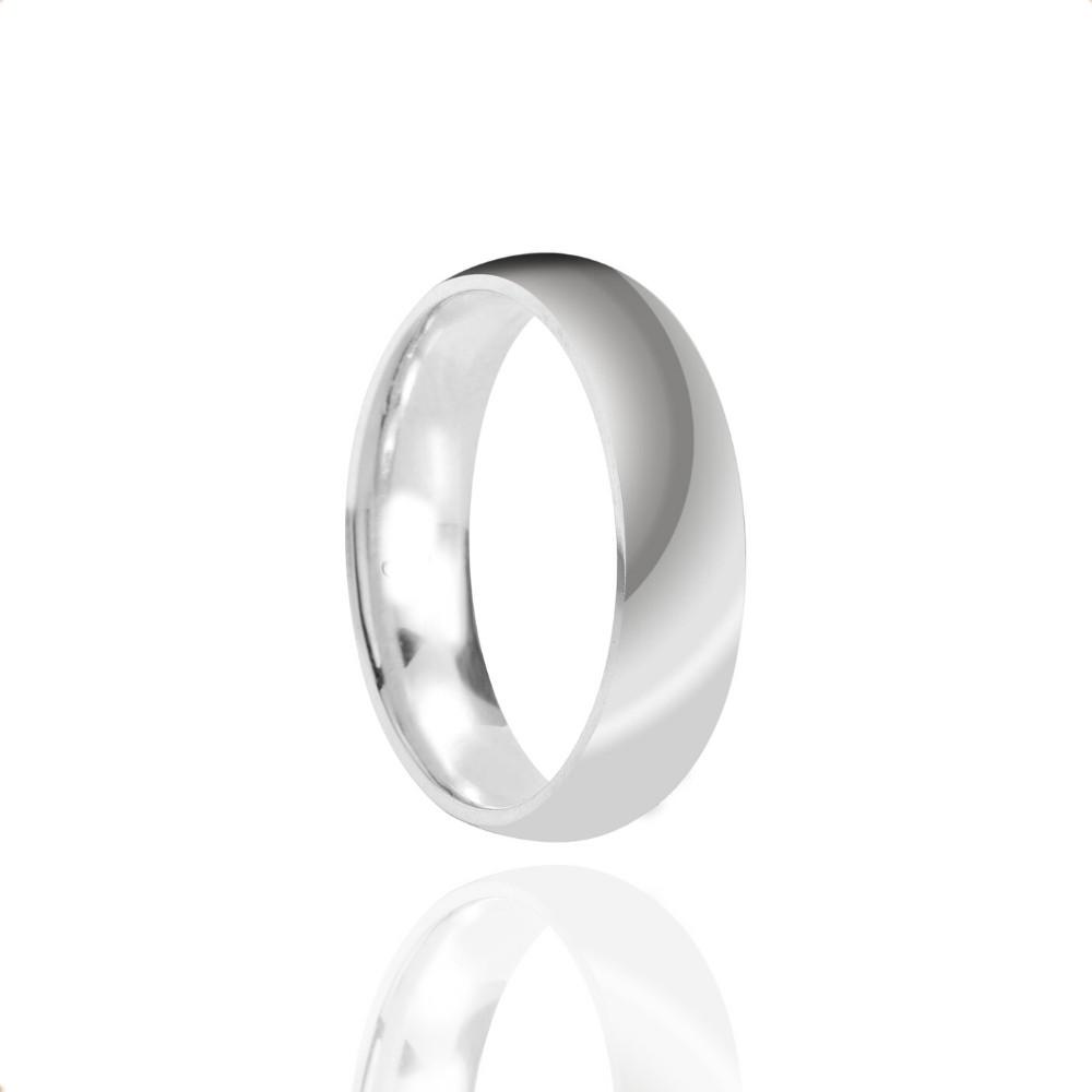 Alianças de Namoro Prata Cravejada Polido 6mm