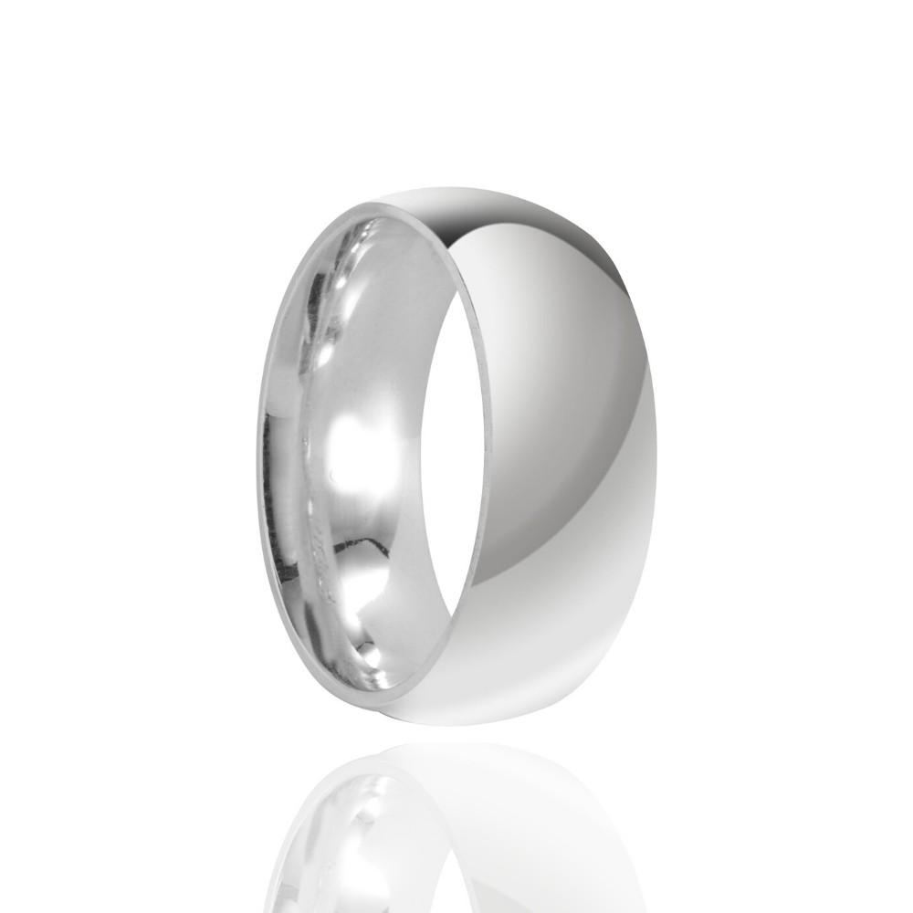 Alianças de Namoro Prata Cravejada Polido 8mm