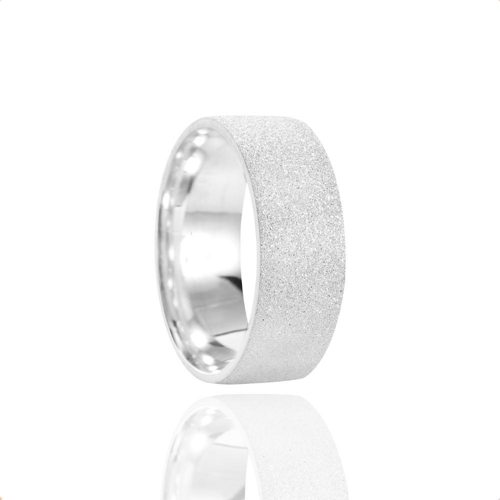Alianças Namoro Clave de Sol Prata Fosca Diamantada 7mm