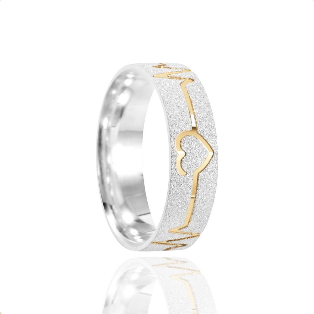 Alianças Namoro Coração Batimento Prata Fosca Diamantada 6mm