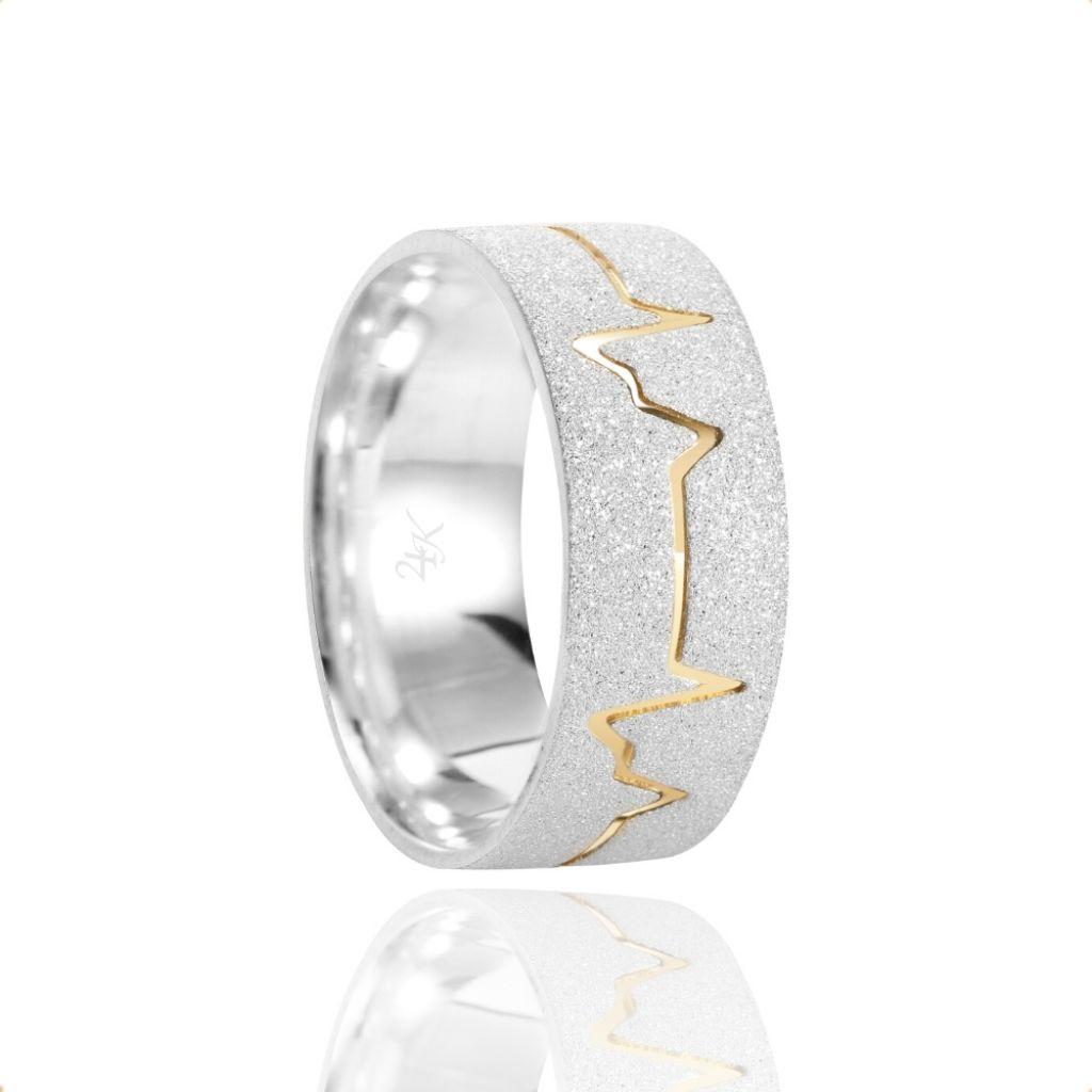 Alianças Namoro Coração Batimento Prata Fosca Diamantada 7mm