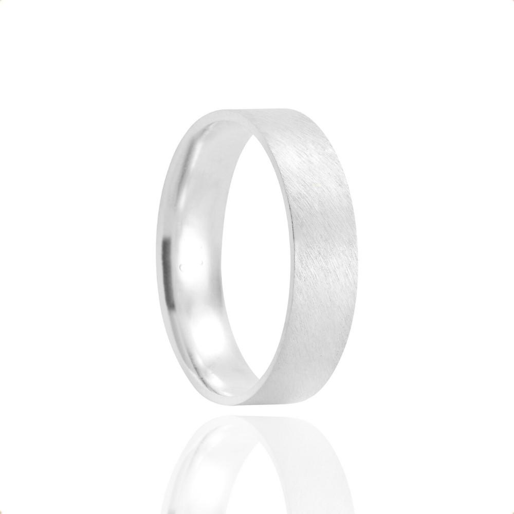 Alianças Namoro Coração Prata Fosca Acetinada 5mm