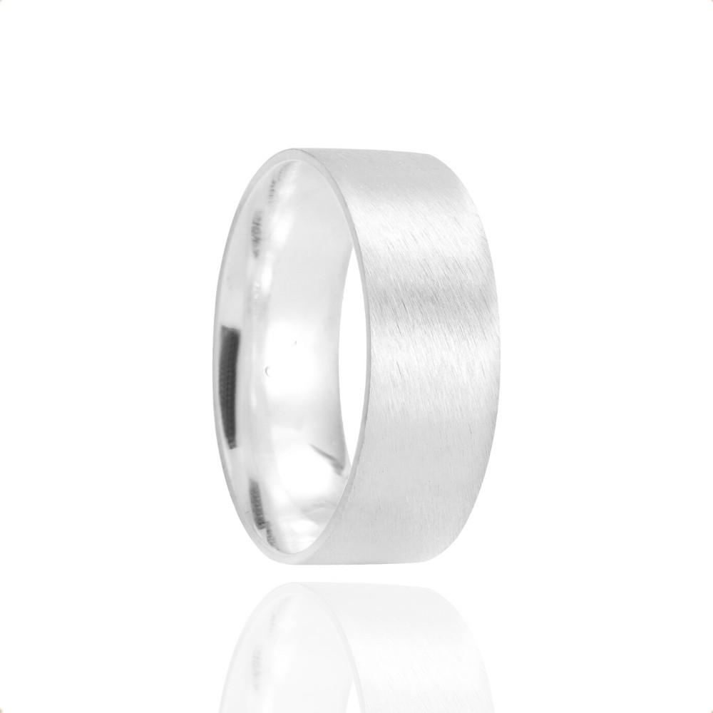 Alianças Namoro Coração Prata Fosco Acetinado 7mm