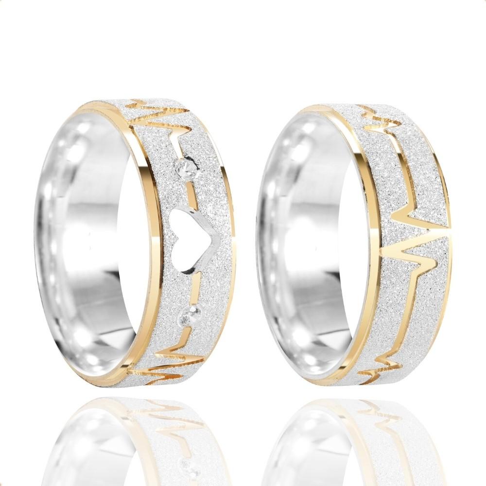 Alianças Namoro Coração Vazado Batimento Prata Fosca Diamantada 7mm