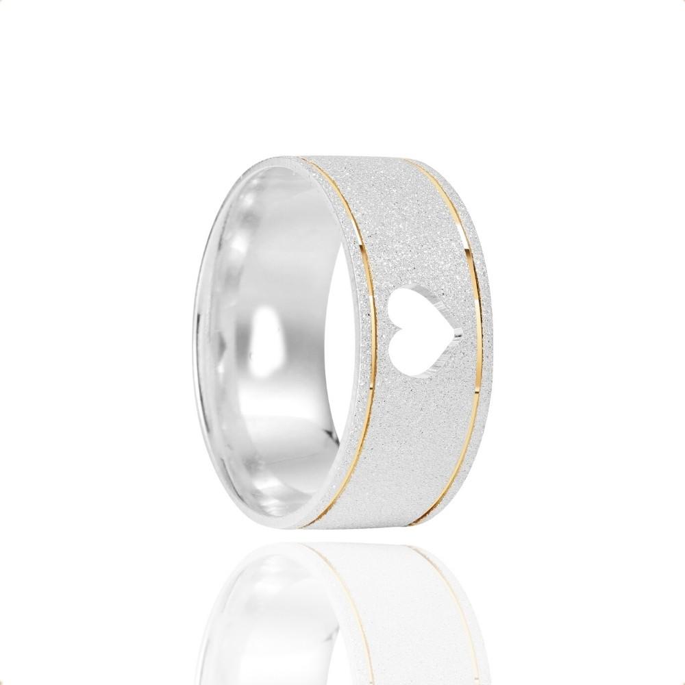 Alianças Namoro Coração Vazado Prata Fosca Diamantada 8mm