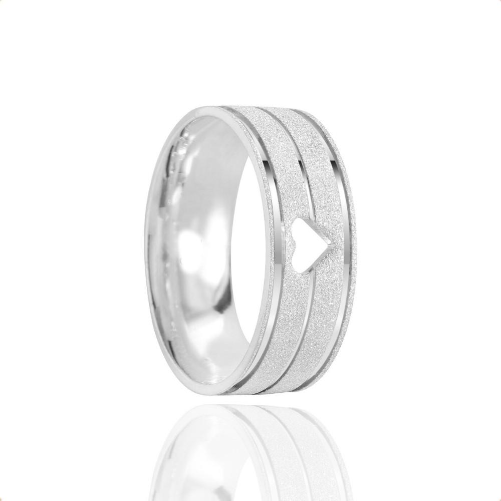 Alianças Namoro Coração Vazado Prata Fosco Diamantado 7mm