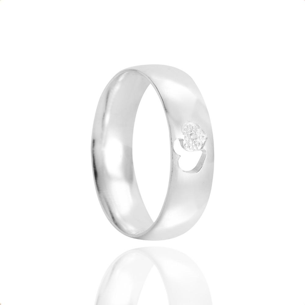 Alianças Namoro Coração Vazado Prata Polida 5mm