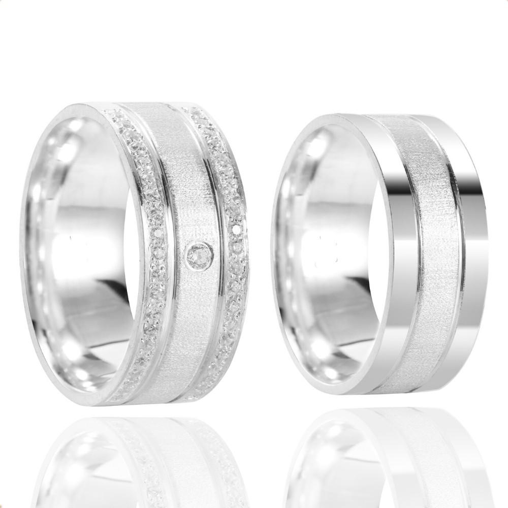 Alianças Namoro Cravejada Prata Polido Fosco 8 mm