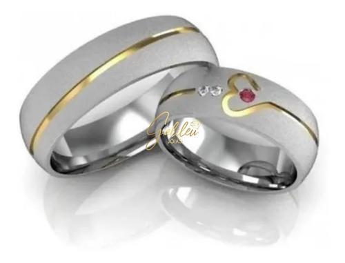 Alianças Namoro Prata 950 Noivado Compromisso Coração Ouro