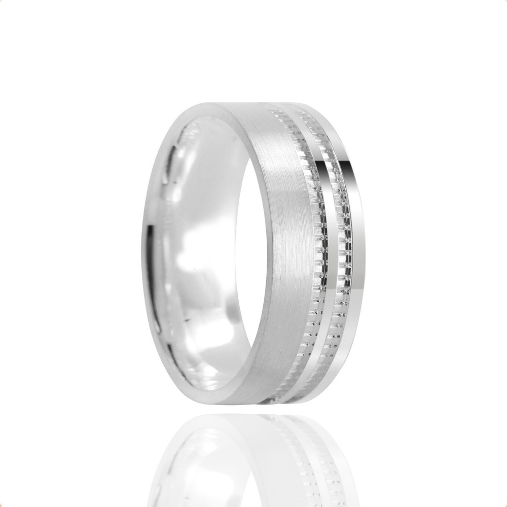 Alianças Namoro Prata Fosca 7 mm