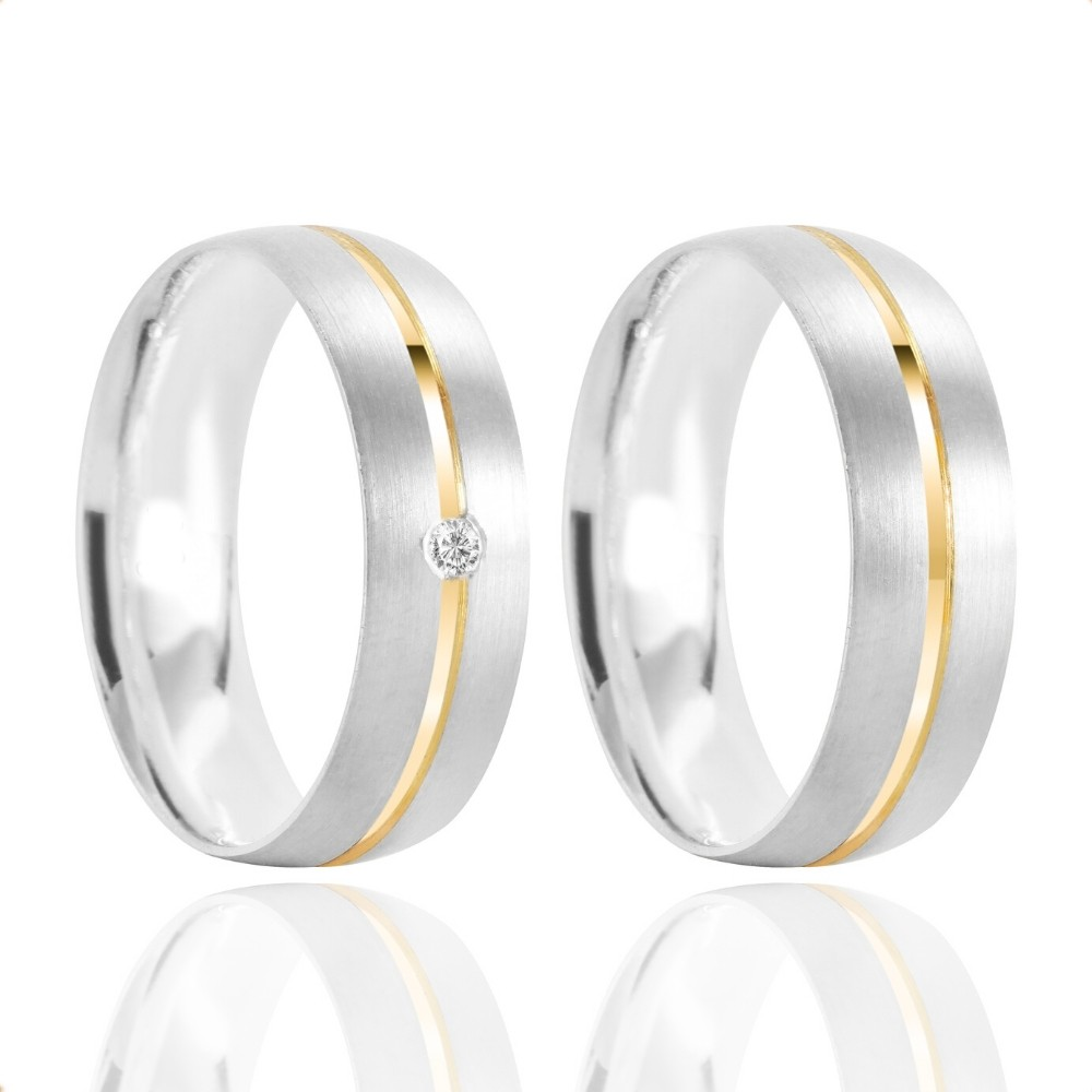 Alianças Namoro Prata Fosca Acetinada 6mm