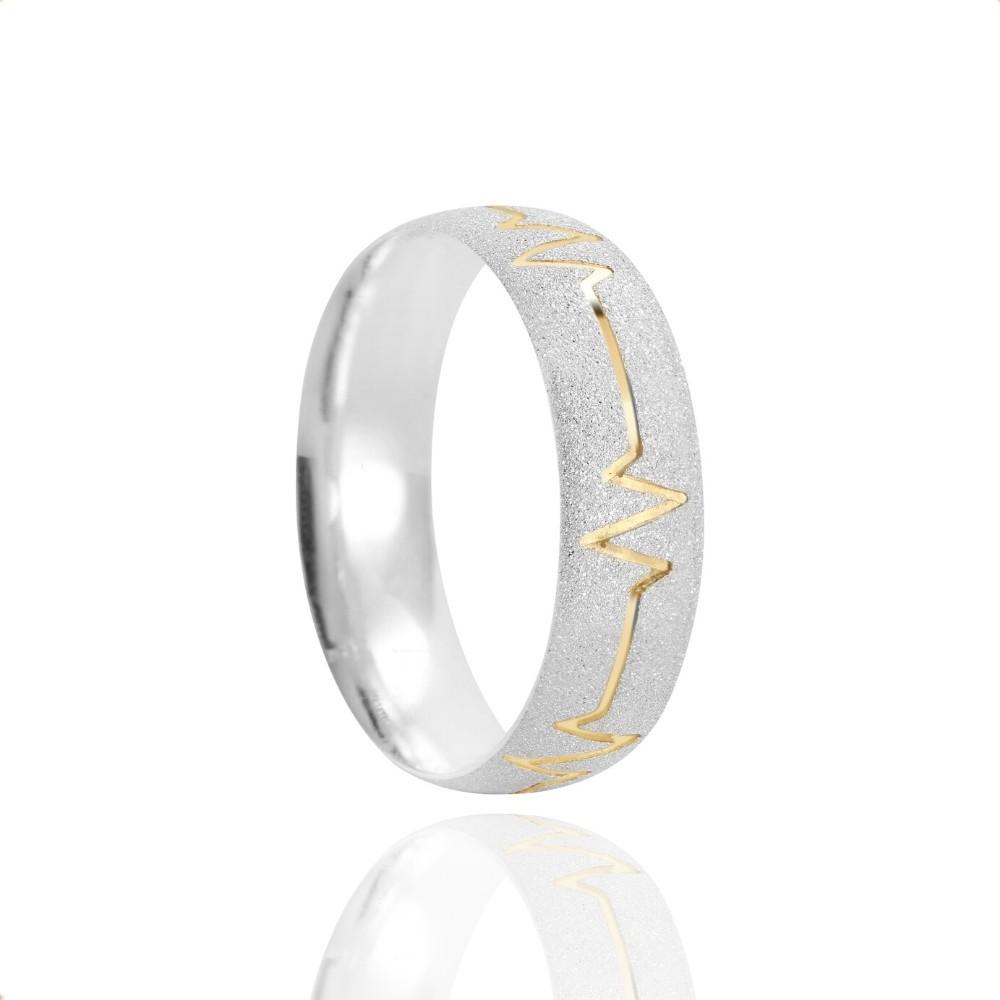 Alianças Namoro Prata Fosca Diamantada 6mm