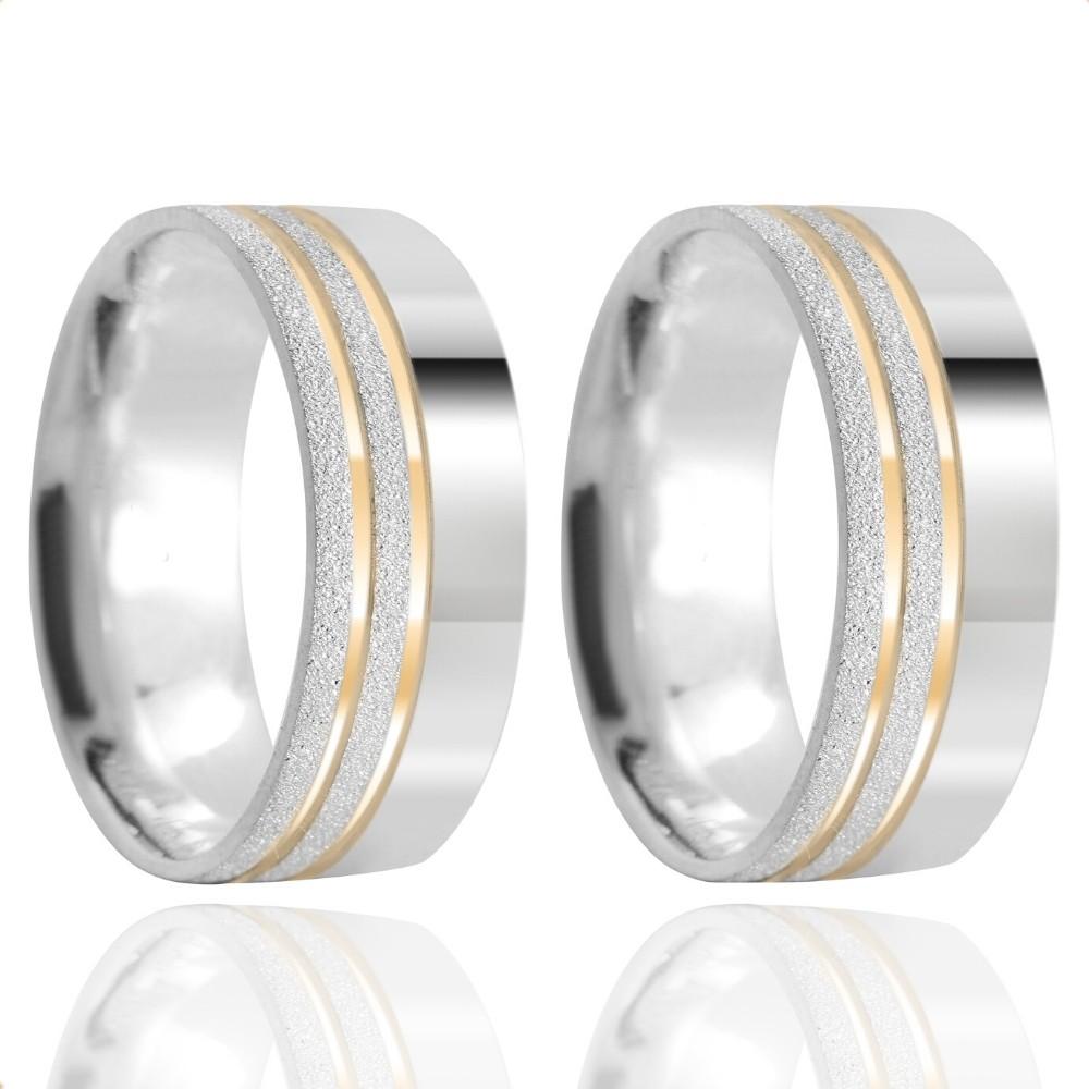 Alianças Namoro Prata Fosca Diamantada 7mm