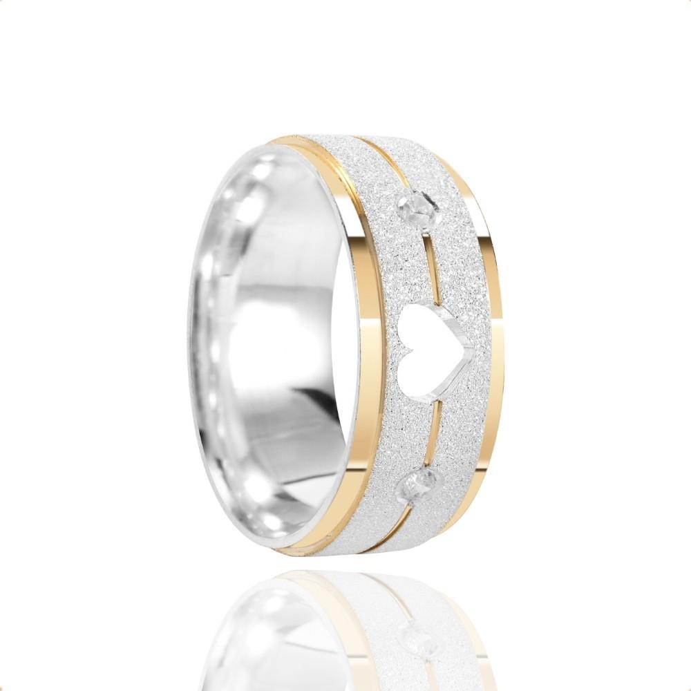 Alianças Namoro Coração Vazado Prata Fosca Diamantada 7mm