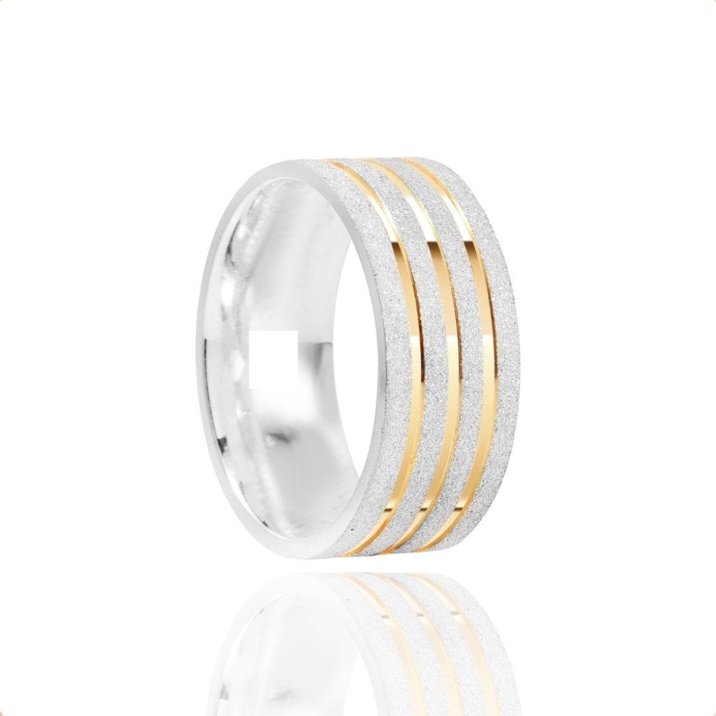 Alianças Namoro Prata Fosca Diamantada 8mm