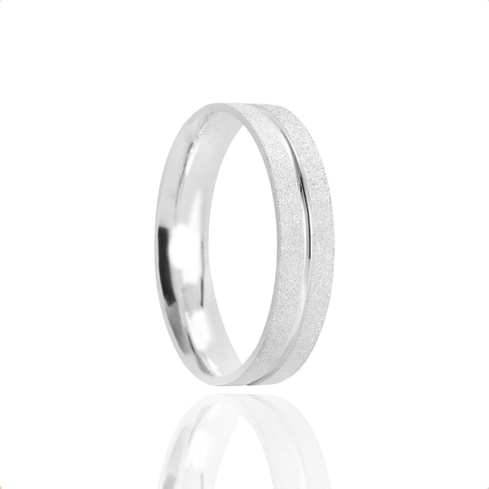 Alianças Namoro Prata Fosca Diamantado 4mm