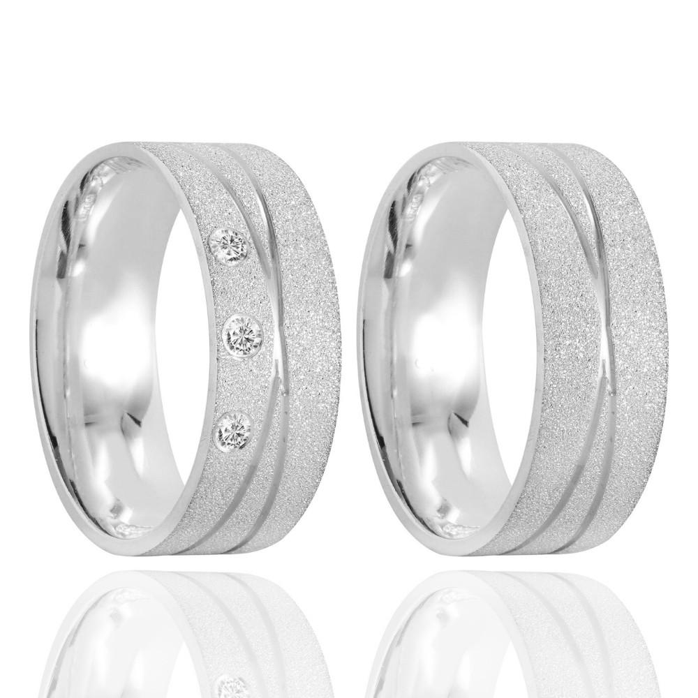 Alianças Namoro Prata Fosca Diamantado 6mm