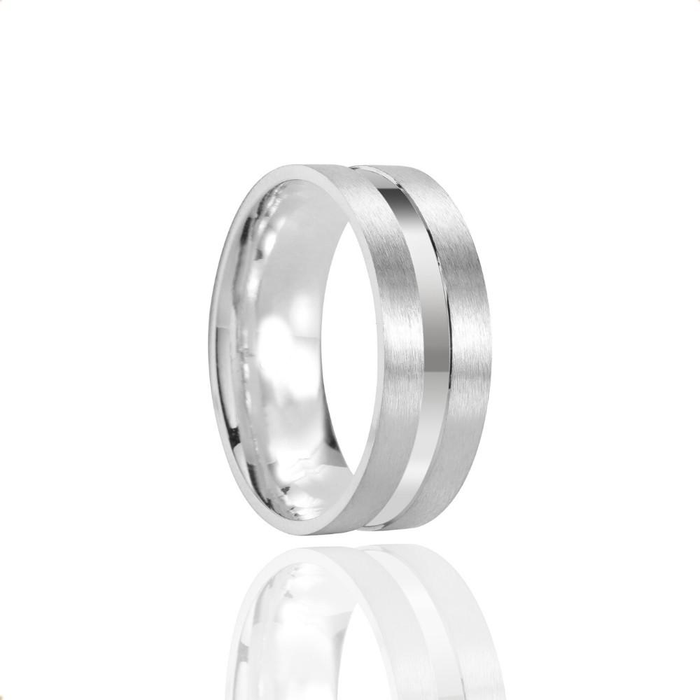 Alianças Namoro Prata Fosca Escovado 6mm