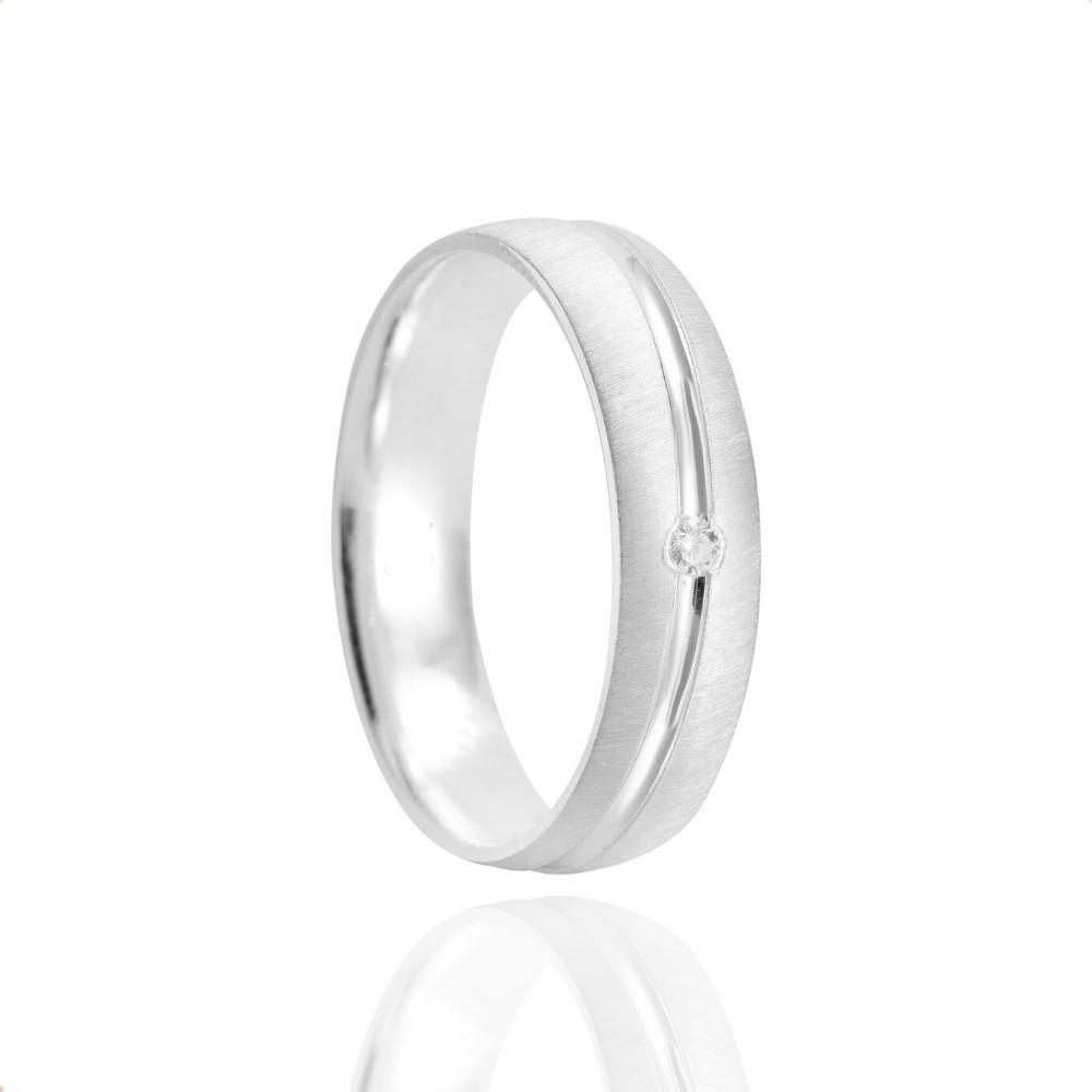 Alianças Namoro Prata Foscas Acetinado 5mm