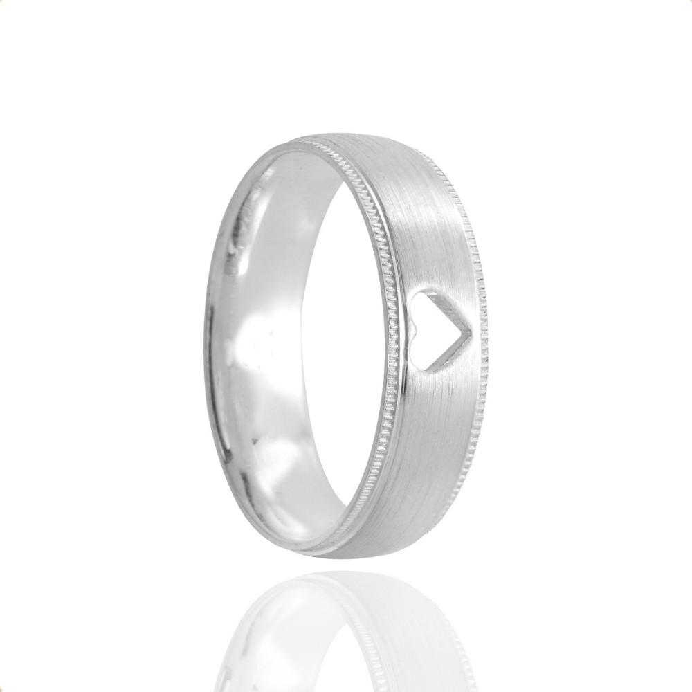 Alianças Namoro Prata Foscas Coração Vazado 6mm