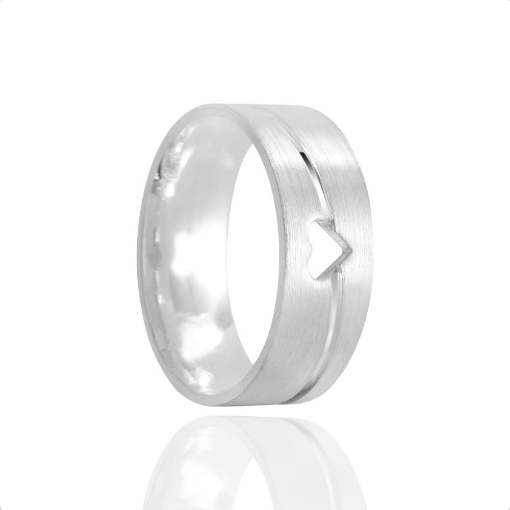 Alianças Namoro Prata Foscas Coração Vazado 7mm