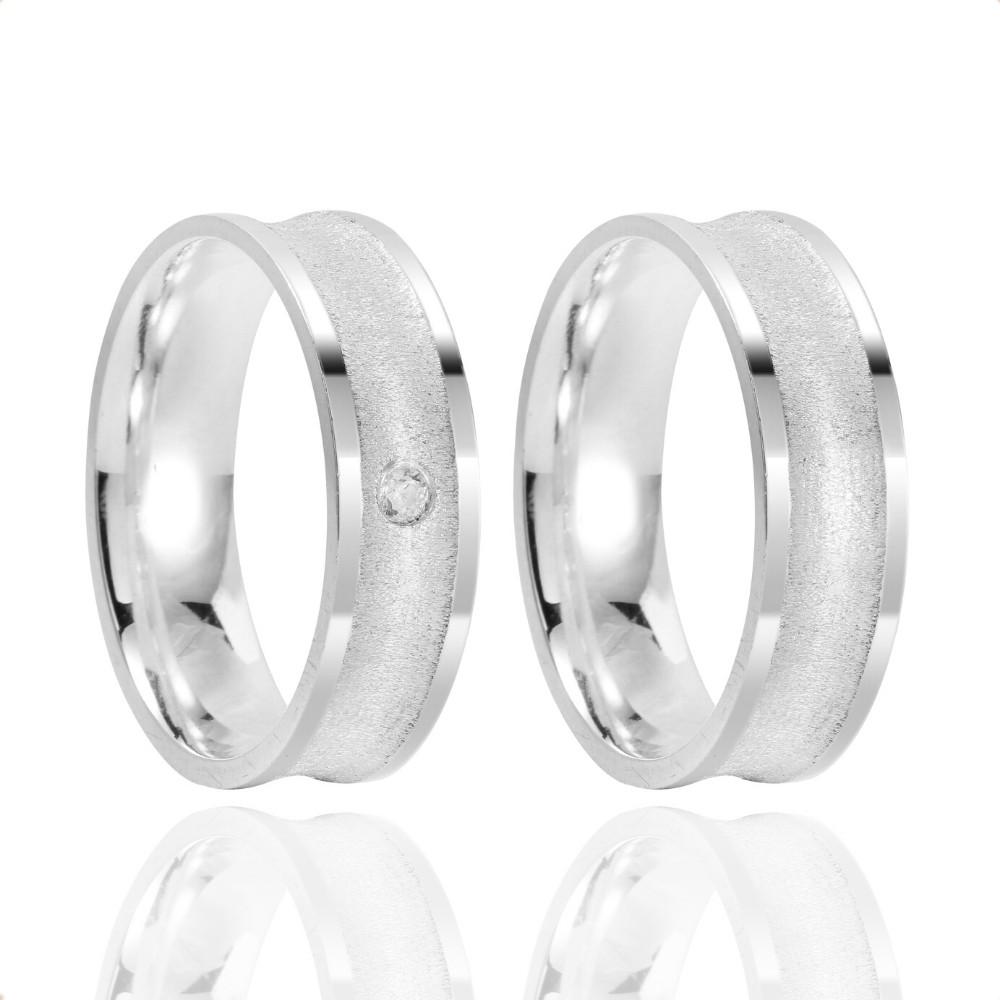 Alianças Namoro Prata Fosco Acetinado 5mm