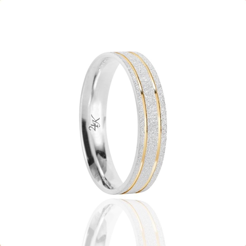 Alianças Namoro Prata Fosco Diamantado 4mm