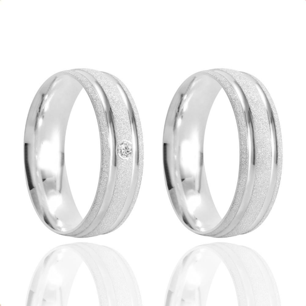 Alianças Namoro Prata Fosco Diamantado 6mm