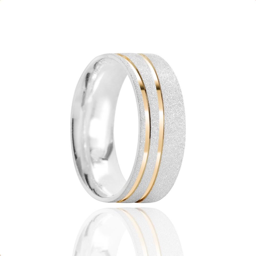 Alianças Namoro Prata Fosco Diamantado 7mm