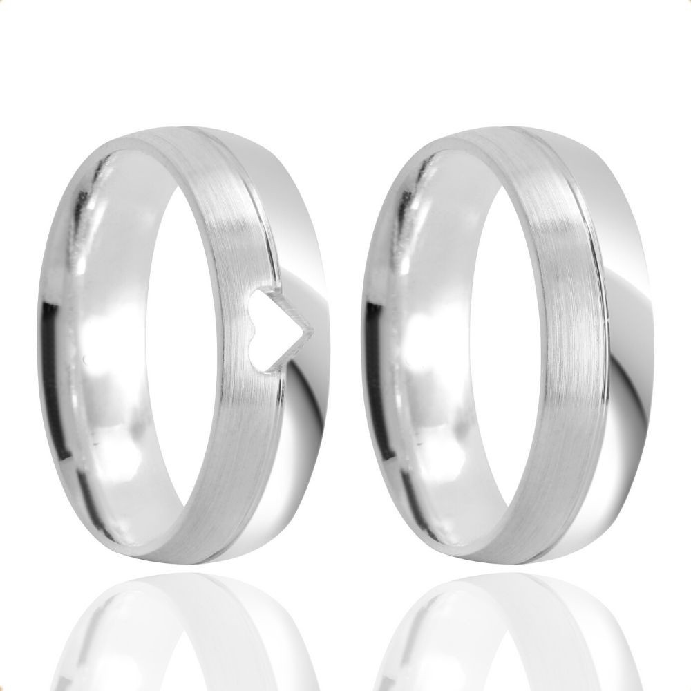 Alianças Namoro Prata Polida Coração Vazado 6mm