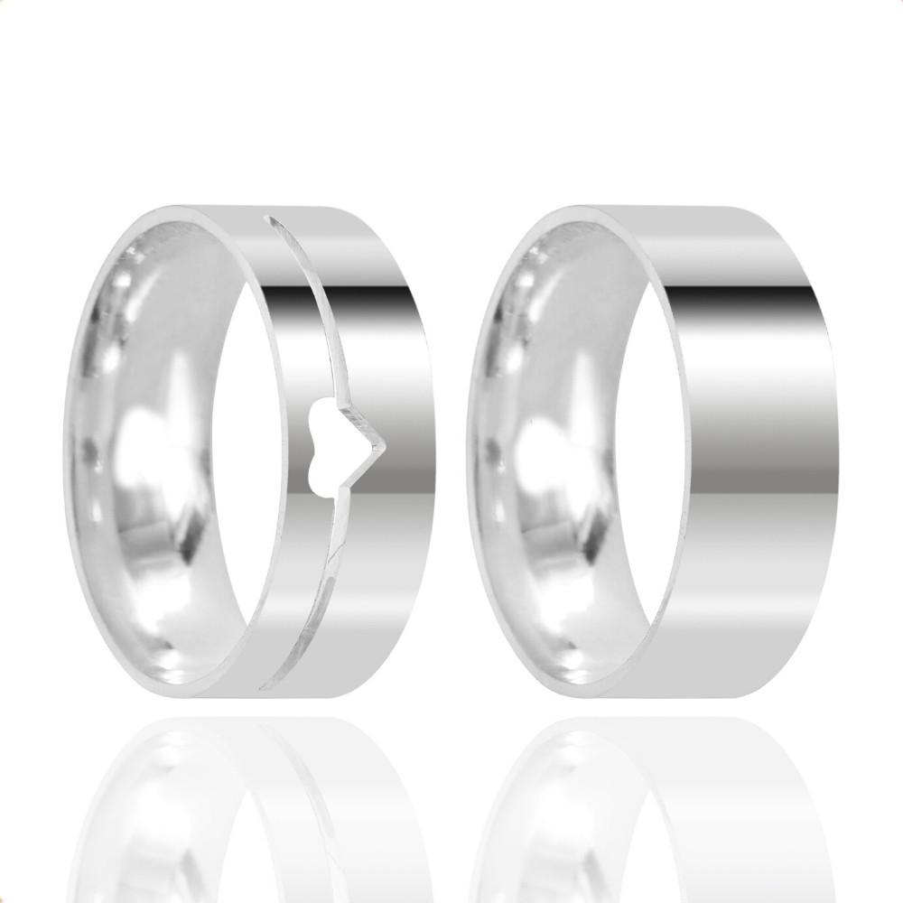 Alianças Namoro Prata Polida Coração Vazado 7mm