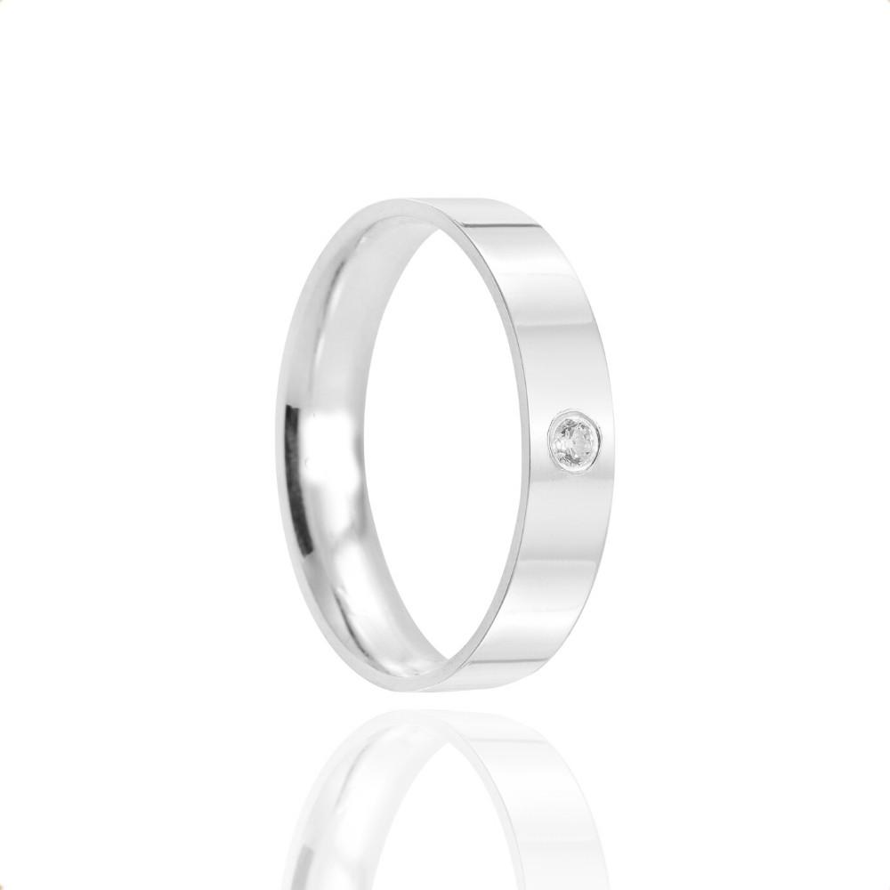 Alianças Namoro Prata Polidas 4mm