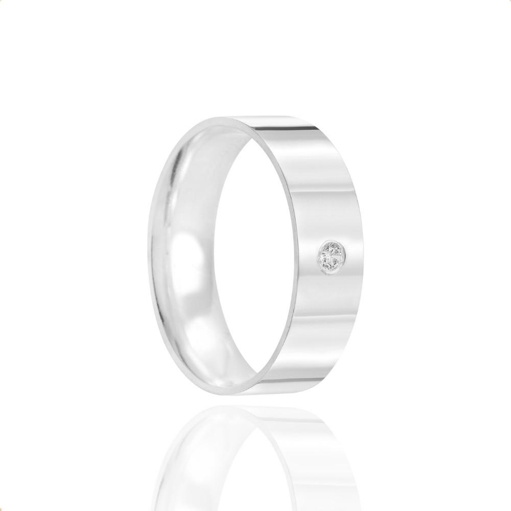 Alianças Namoro Prata Polidas 6mm