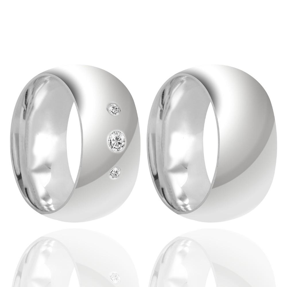 Alianças Namoro Prata Polido 10mm