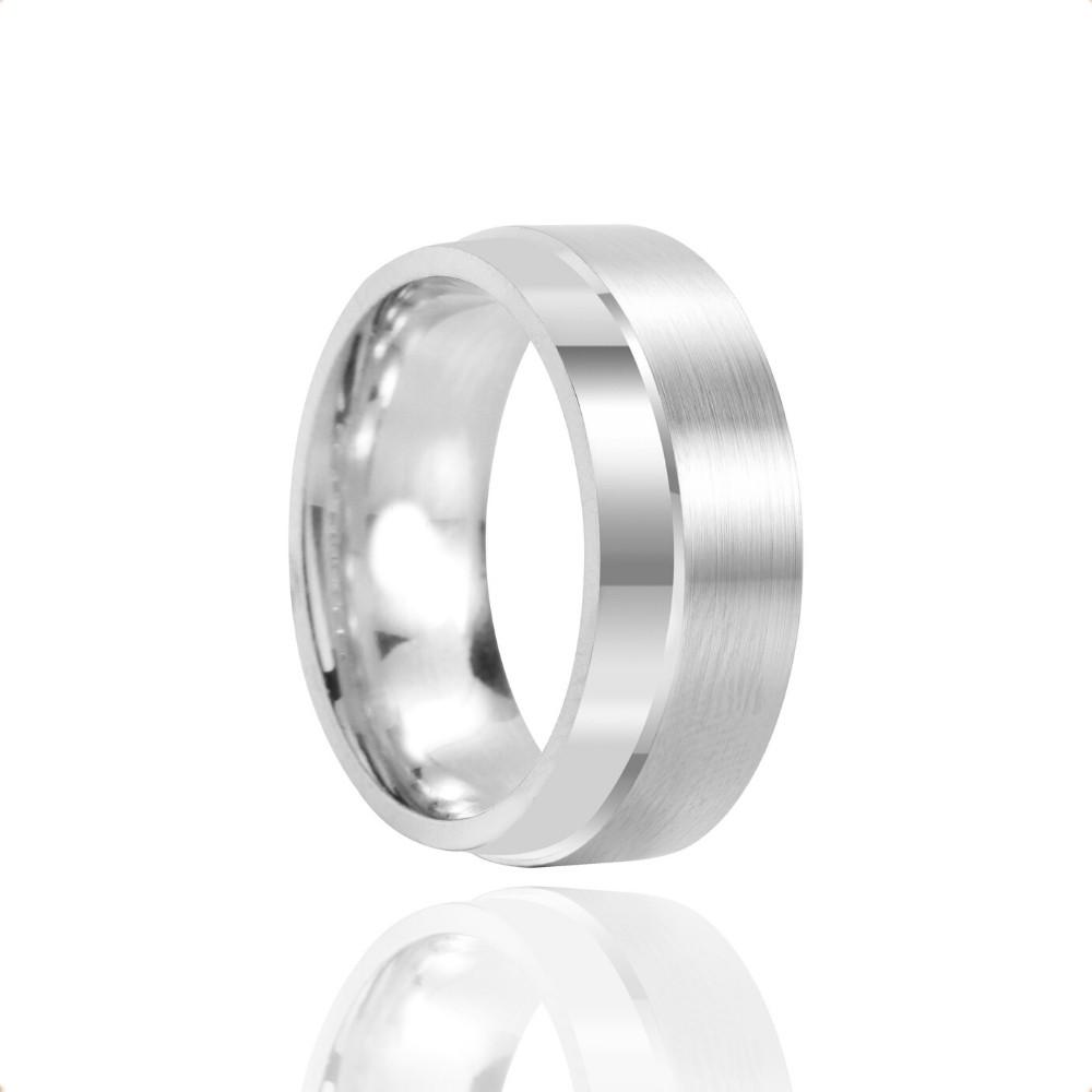 Alianças Namoro Prata Polido Fosco 8mm