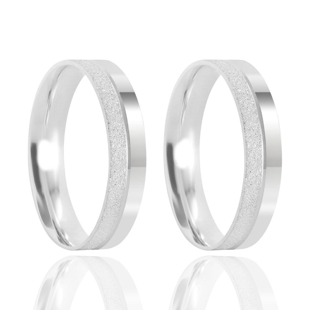 Alianças Namoro Prata Polido e Fosco 4mm