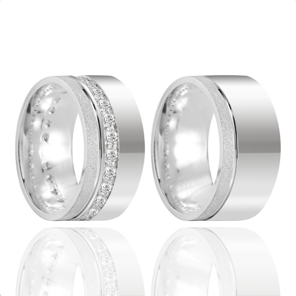 Alianças Namoro Prata Polido Fosco 10mm