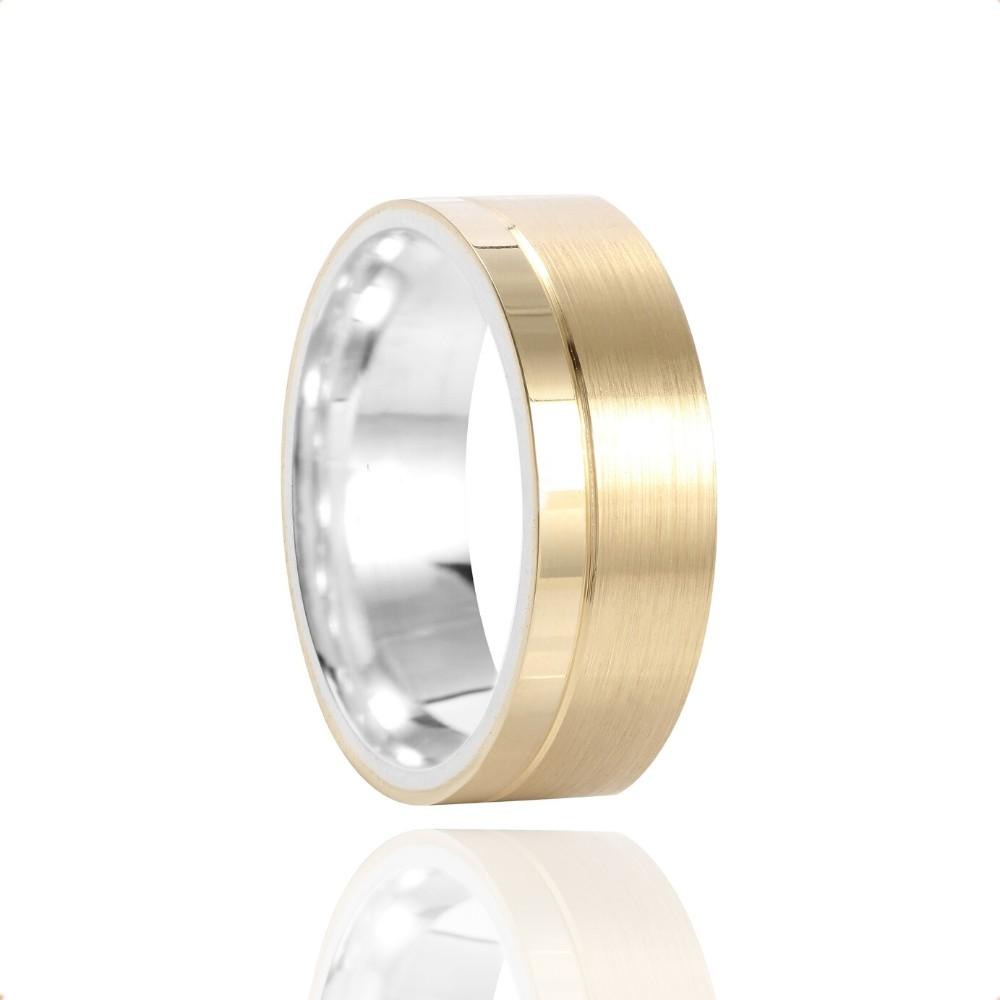 Alianças Noivado e Casamento Prata e Ouro 10k Polido 7mm