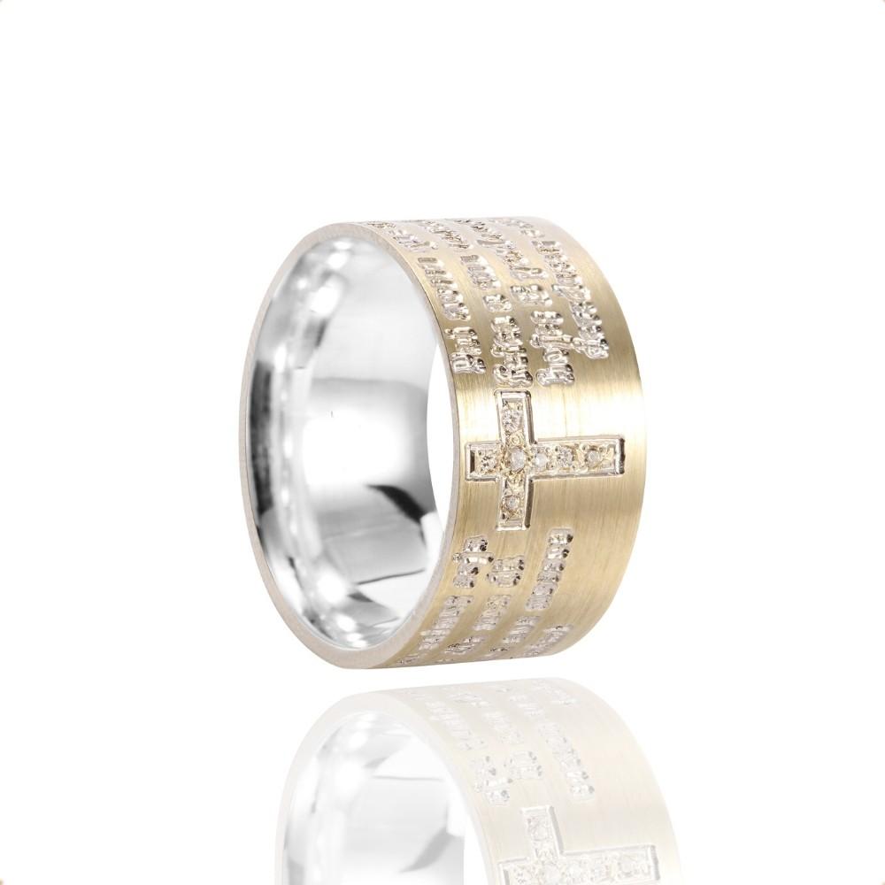 Anel Pai Nosso de Prata e Ouro 10k com Zircônia 10mm