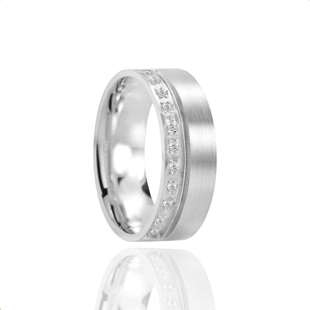 Alianças Namoro Prata Polido Fosco 7mm